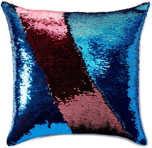 Blue & Pink Mermaid Sequin Throw Pillow $9