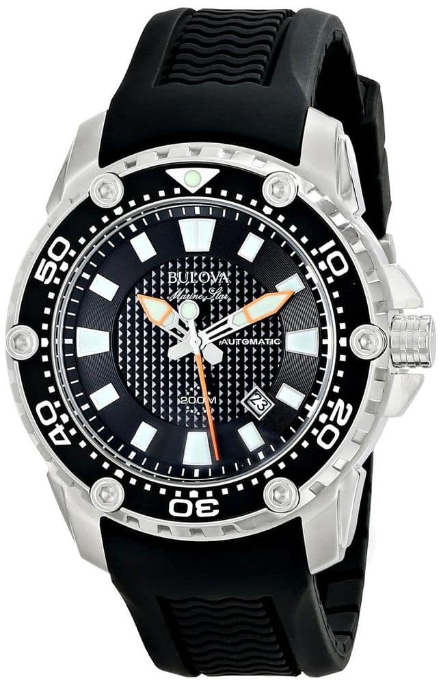 Bulova  Automatic Watch with Black Rubber Strap and 200 meter water resistance- $115 with free shipping - eBay Daily Deal