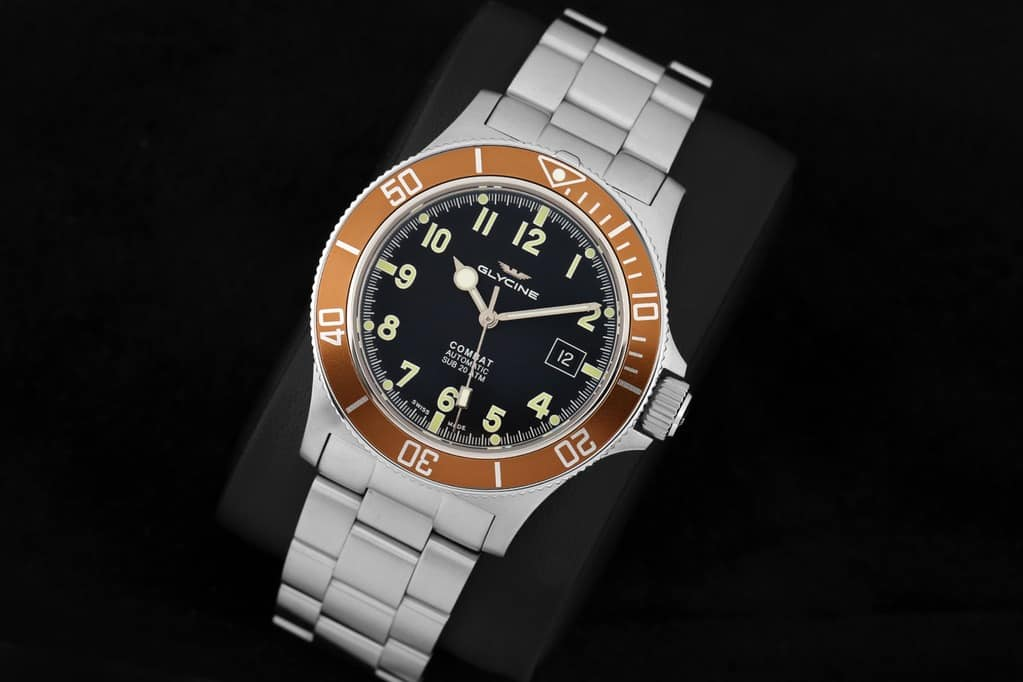 $399 Glycine Combat Sub Swiss Made Automatic Dive Watch