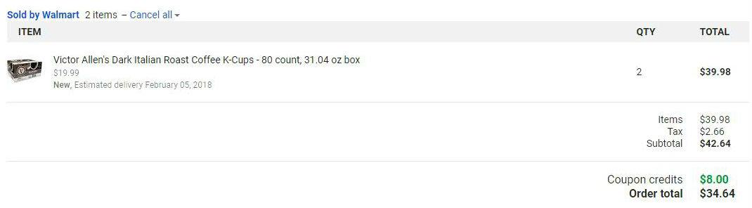 Google Express - Walmart - Victor Allen Italian Roast 80-Count Box - $15.99