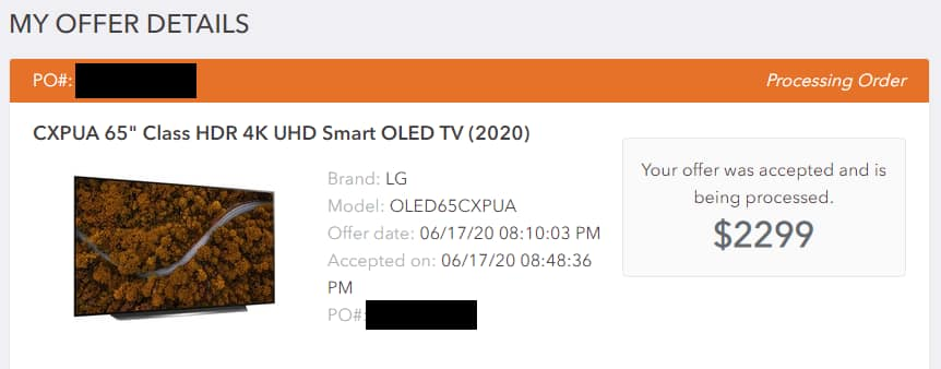 "LG CX 65"" OLED TV - OLED65CXPUA for $2299 Auth Dealer Via Greentoe, taxes/delivery included"