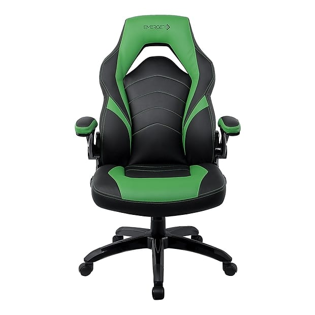Staples Emerge Vortex Bonded Leather Gaming Chair, Black and Green $129.99