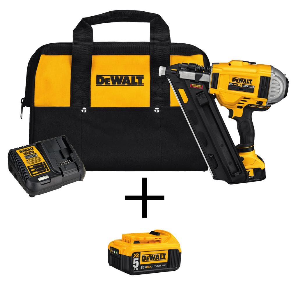 DEWALT 20-Volt MAX XR Lithium-Ion Cordless Brushless 2-Speed 33 Degree Framing Nailer Kit w/ Battery 4Ah and Bonus 5Ah Battery $349