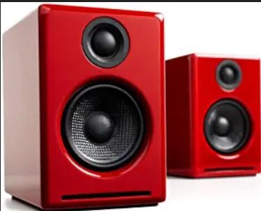 Audioengine A2 Plus 60W Powered Desktop Speakers, Built in 24Bit DAC and Analog Amplifier (Red) $175.00
