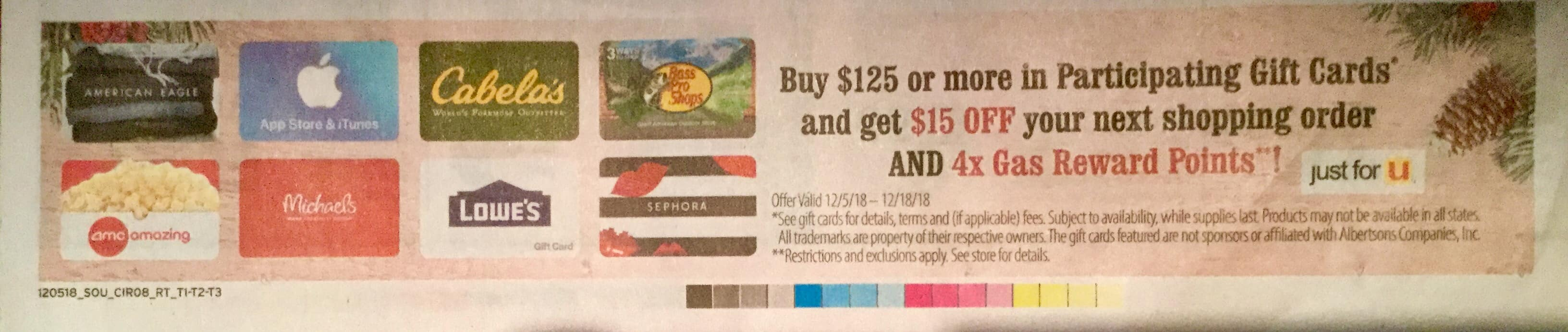 Randall/Albertsons Buy $125 Gift Cards Get $15 Off Next Shopping Order YMMV