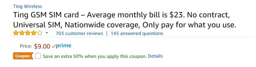 Ting GSM Sim Card 50% off on Amazon + FS $4.50