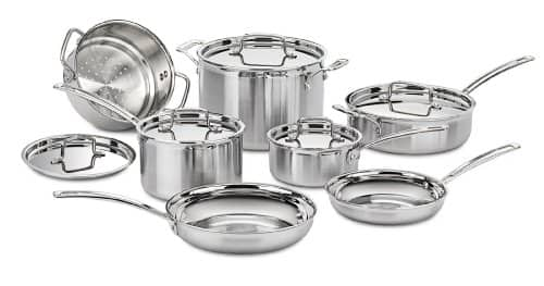 12-Piece Cuisinart Multiclad Pro MCP 12N Multi-Clad Pro try-ply stainless steel cookware set for $200 @Amazon