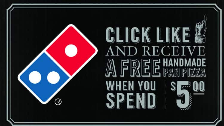 Free Domino's Medium 2-topping Pan pIzza with $5 online purchase at Dominos.com (requires facebook)