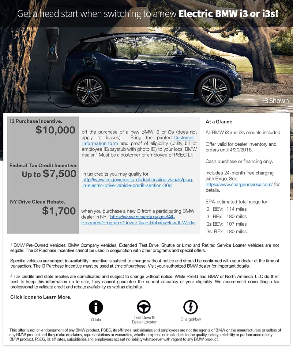 PSEG Long Island Save 10k or more on BMWi3 or i3s