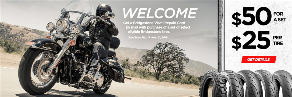 Spring 2018 Bridgestone Motorcycle Tire Rebate Promotion 25 Tire