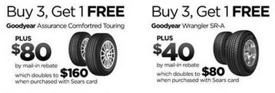 Goodyear tires buy 3,1free +$40 off +$160 rebate  +free shipping  @ Sears .com