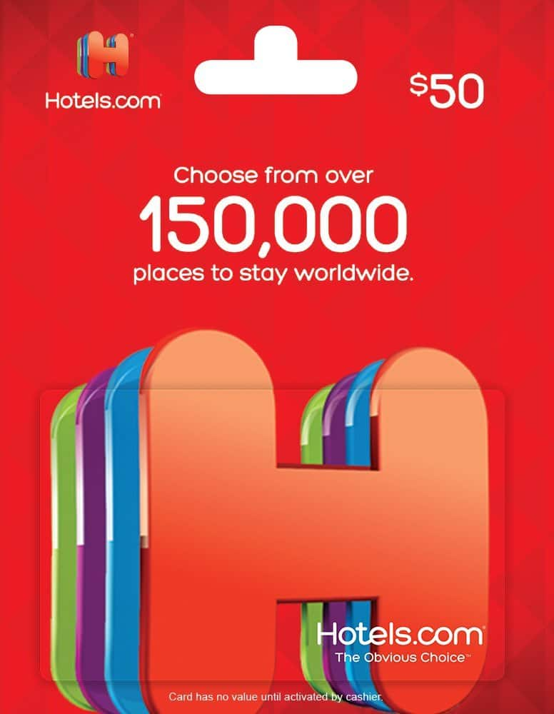 LIVE: $40 for $50 Hotels.com Gift Card (and few other gift cards) Tonight