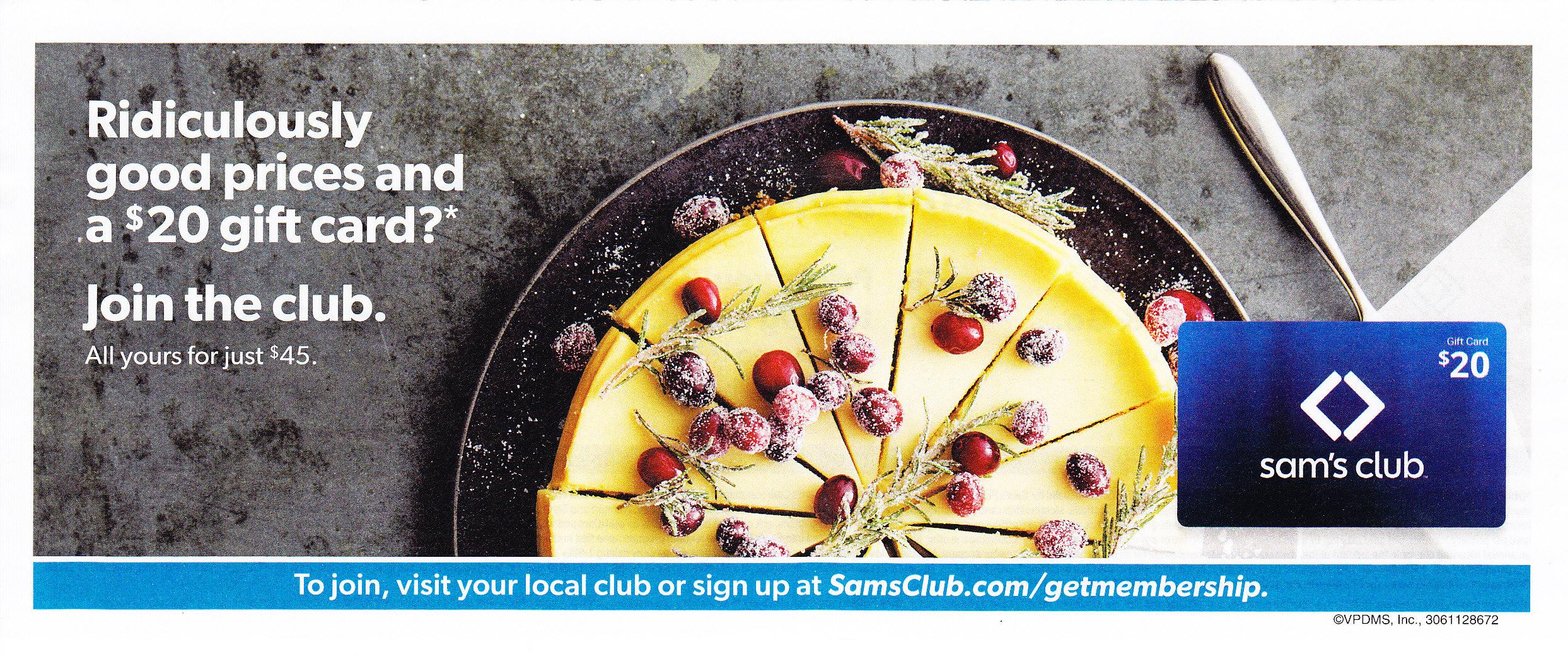 Sam's Club Membership - $45 gets $20 giftcard