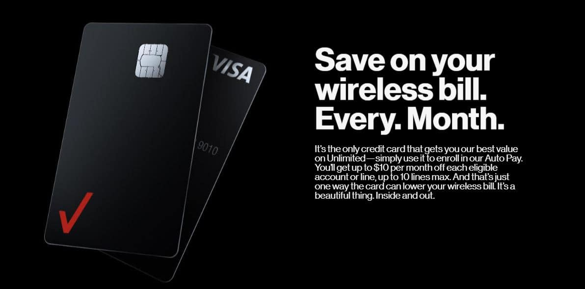 $10 off Each Line or Account When Enrolling into Verizon Auto Pay with the Verizon Visa Card with Added Rewards
