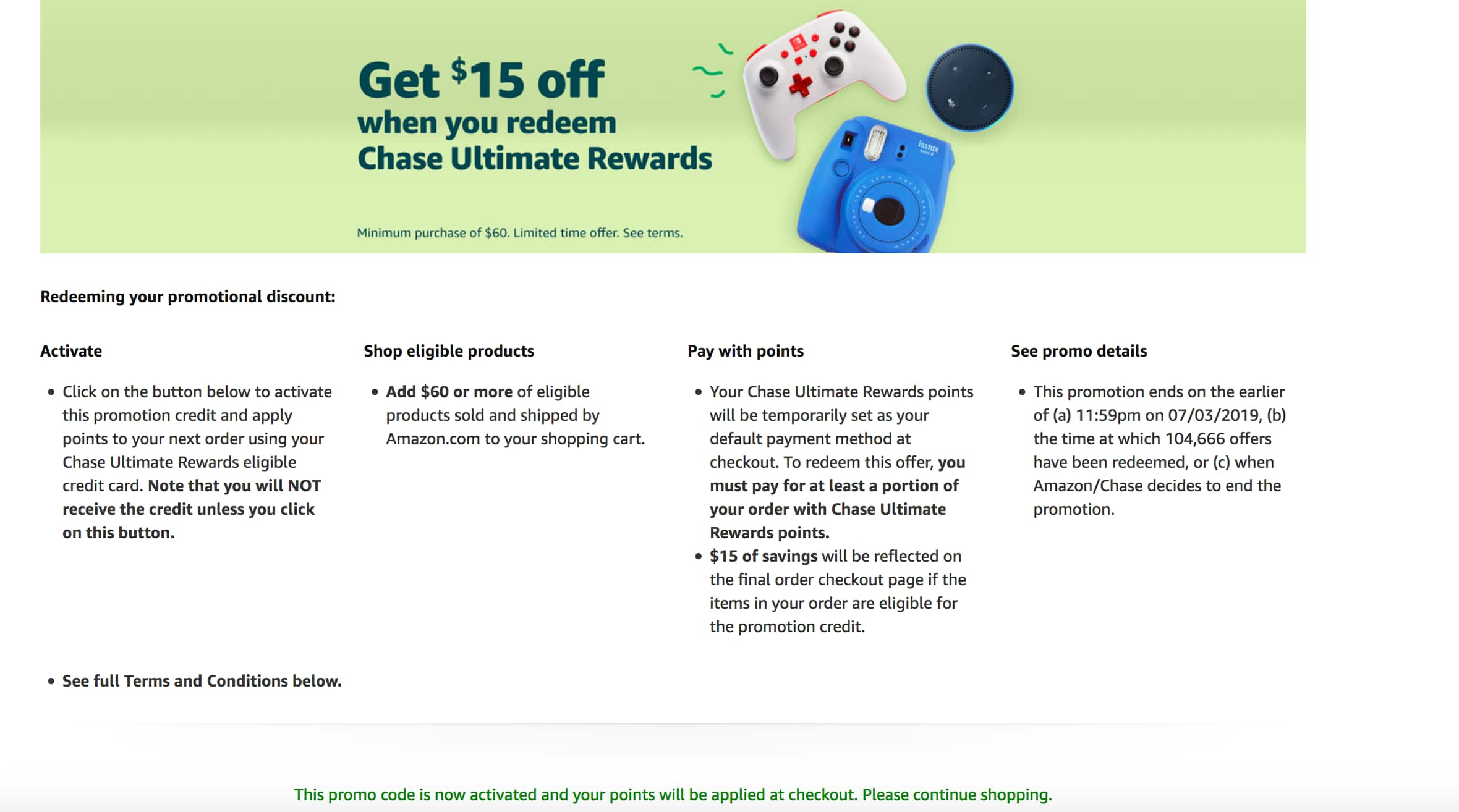 Chase Ultimate Rewards on Amazon Get $15 off purchase of $60 YMMV