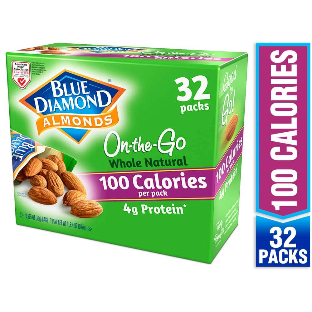 Blue Diamond Almonds Whole Natural Raw Almonds 100 Calorie On The Go Bags, 32 Count [Whole Natural 32 Count (Whole Natural)] $9.75