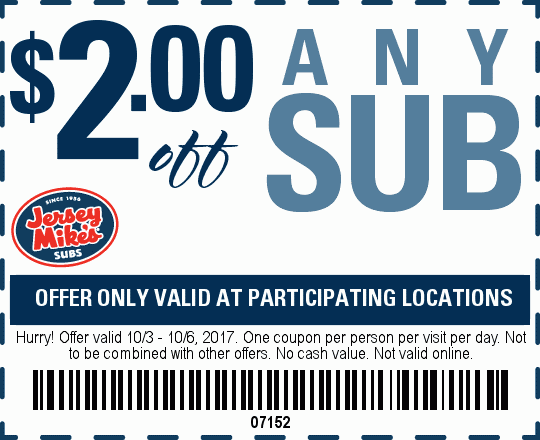 graphic regarding Jersey Mikes Printable Coupons named $2 off Jersey Mikes subs -