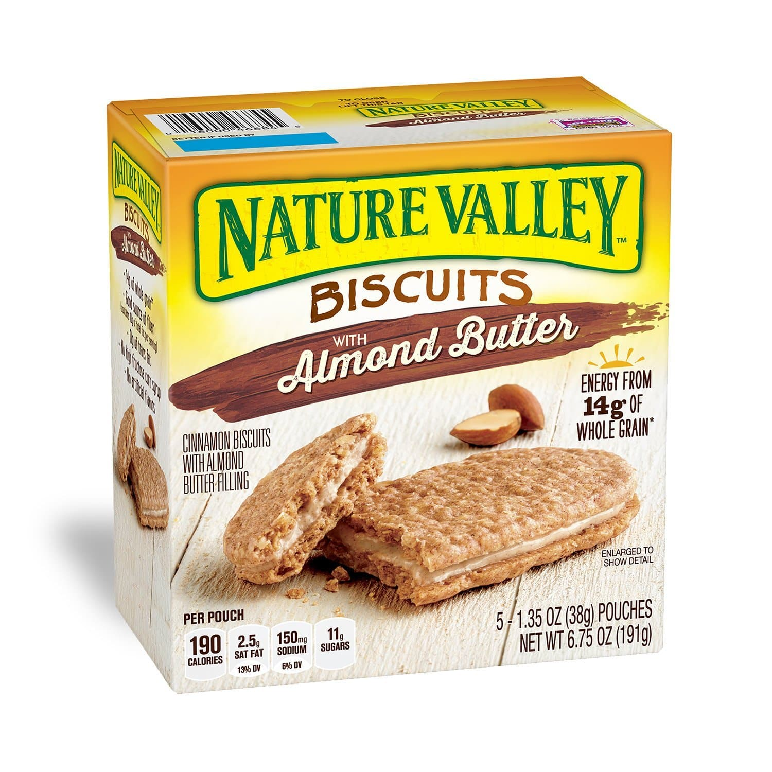 Nature Valley Breakfast Biscuits with Nut Filling, 5 Bars, Pack of 12 [Almond Butter or Coconut Butter] $22.50 w/ $6 Coupon and S&S (5%)