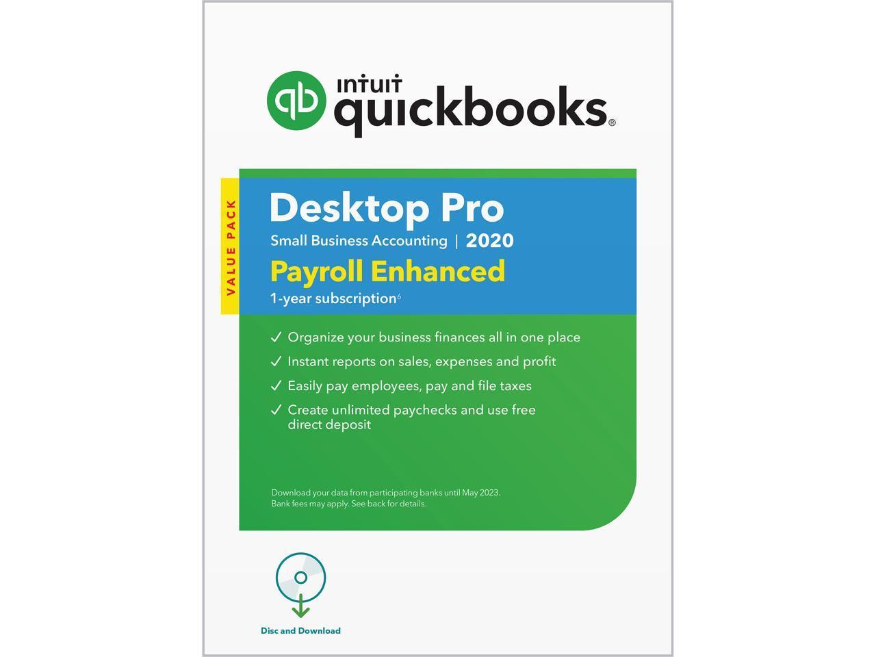 QuickBooks Desktop Pro 2020 with Enhanced Payroll $200