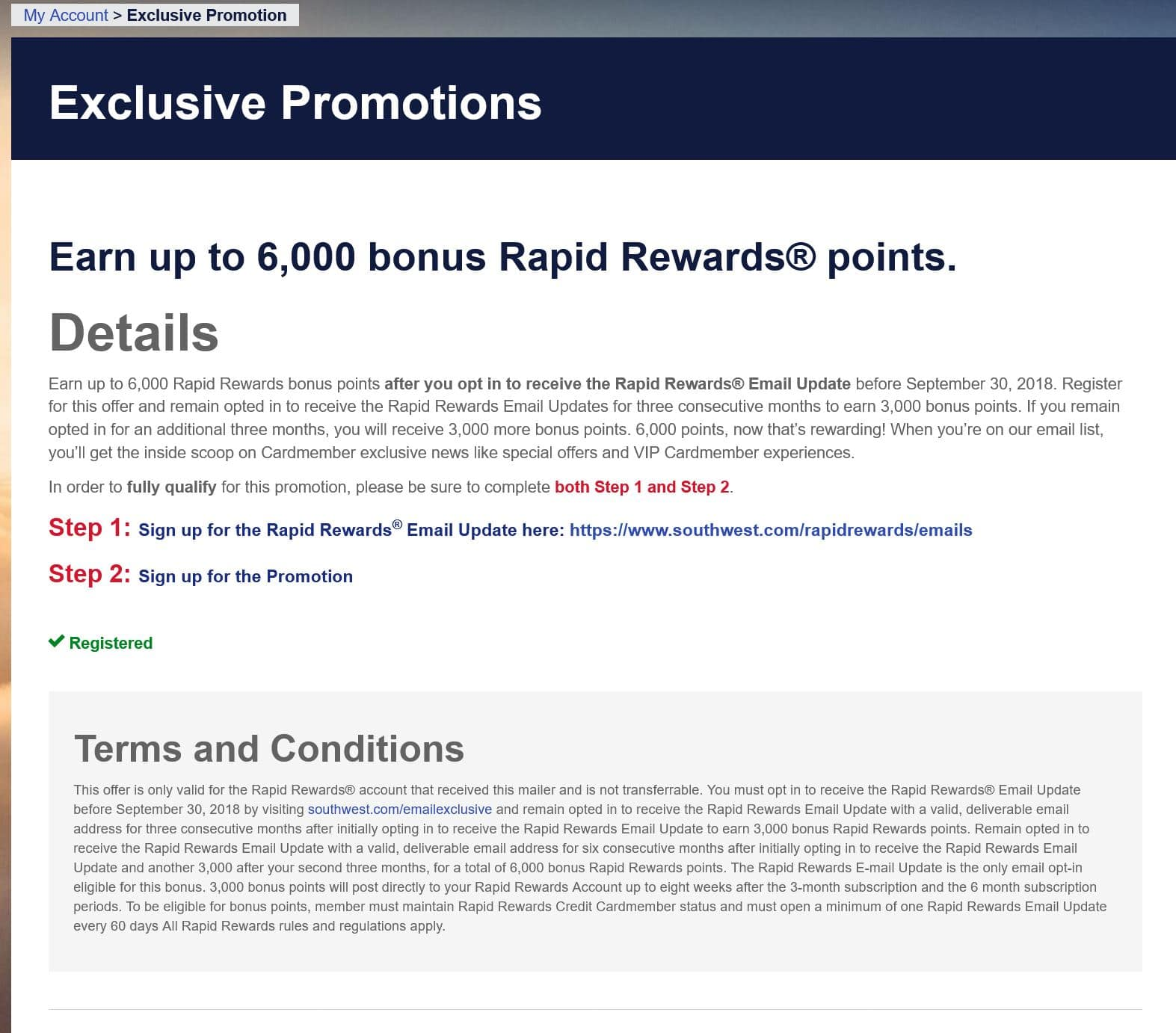 Southwest airlines free 6000 points for email signup - YMMV