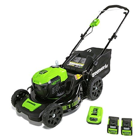 21 inch Greenworks 40v Cordless Lawn Mower + 2 batteries (2.5 amp each) & charger- $257