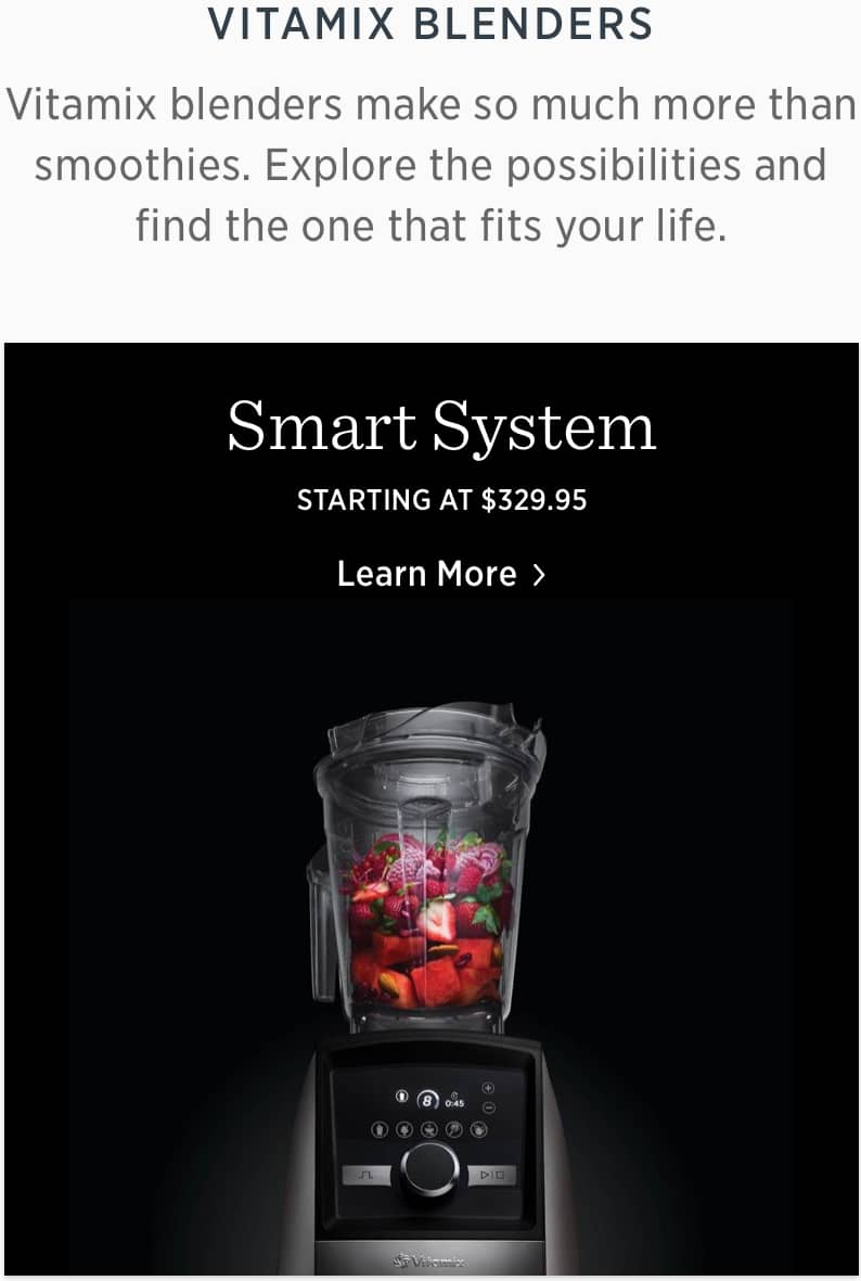 20% off and free shipping over $100 at vitamix.com for first responders