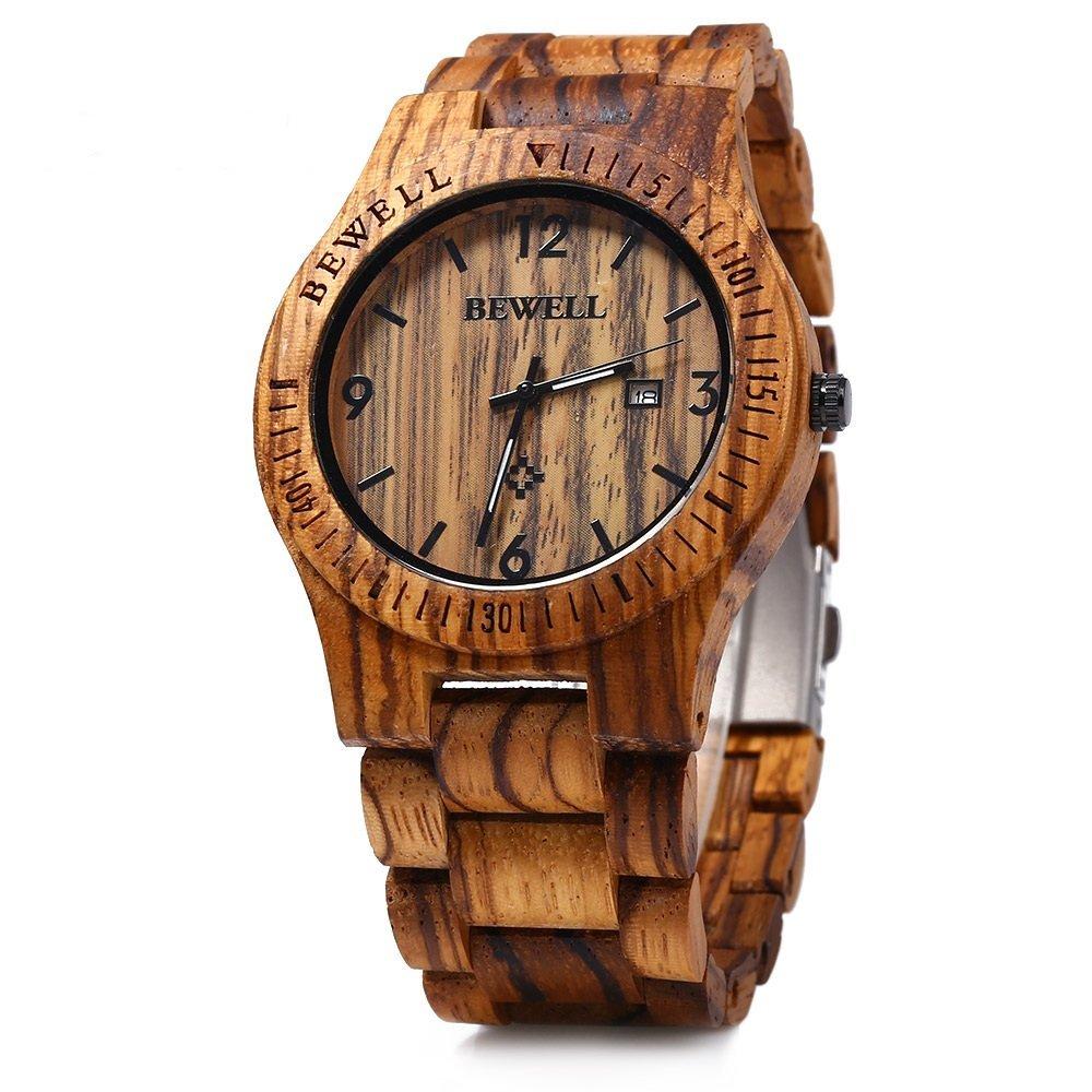 Bewell W086B Mens Wooden Watch Analog Quartz Lightweight Handmade Wood Wrist Watch for $17.99@amazon