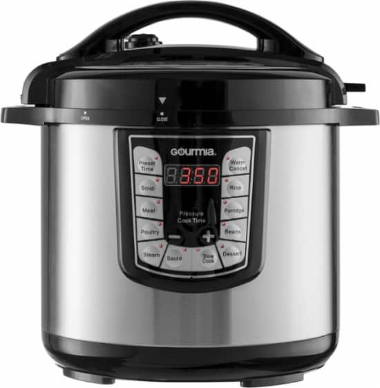 Gourmia - 8-Quart Pressure Cooker with FREE Insignia Google Assistant Bluetooth Speaker $69.99