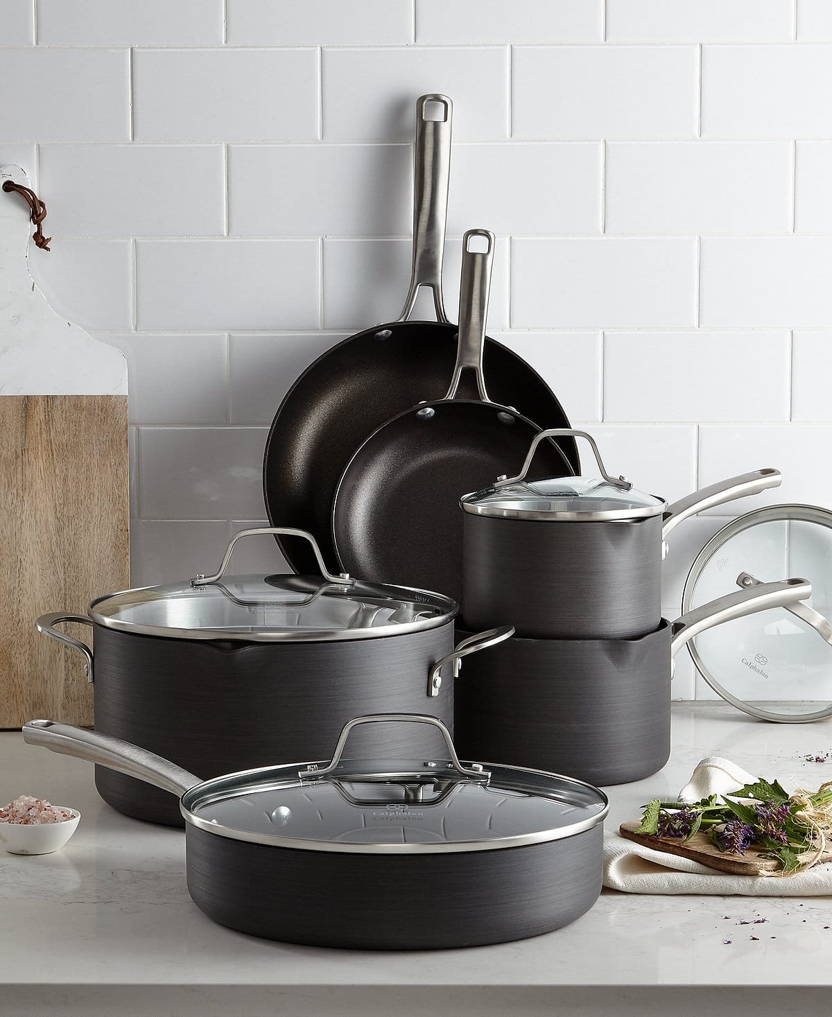 "Calphalon Classic 10pc Cookware set with free 12"" all purpose pan w/lid $140 at Macy's (plus cashback)"