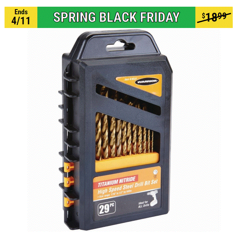 HF Warrior Titanium Drill Bit Set, 29 Pc.  ($9.99 in store but shipping avail)
