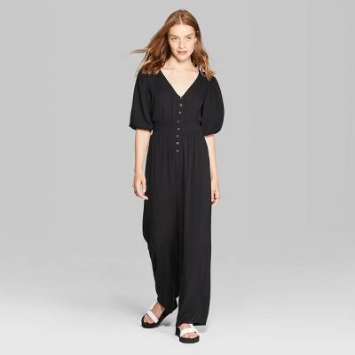 Wild Fable Women's Short Sleeve V-Neck Button Front Jumpsuit (2 colors) $16.50 + Free shipping via Target