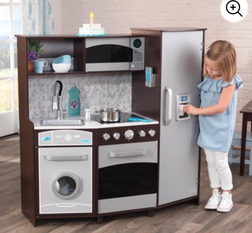 KidKraft Large Play Kitchen w/ Lights & Sounds (Espresso/Silver)