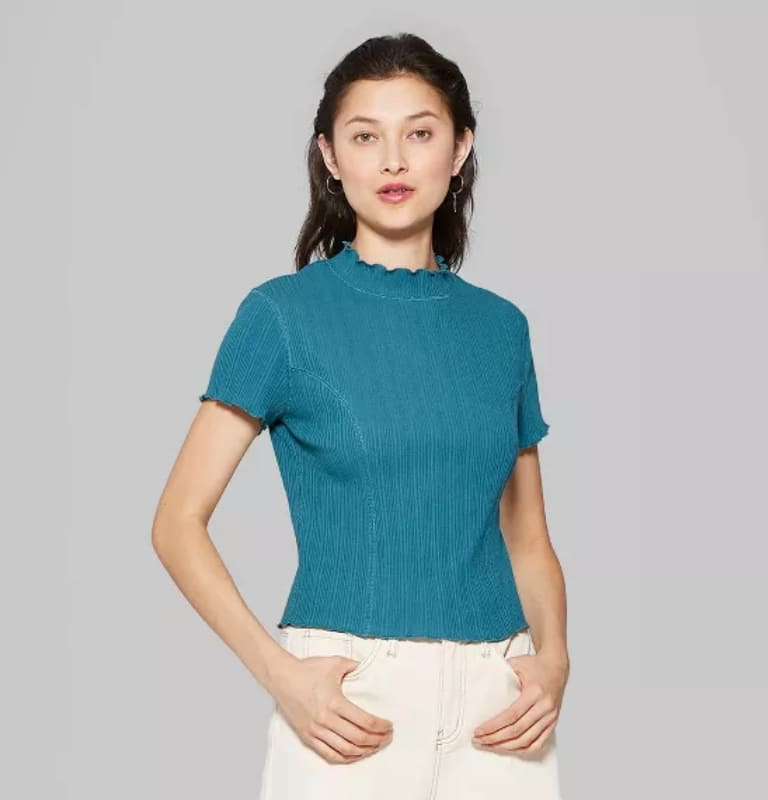Women's Short Sleeve Mock Turtleneck T-Shirt Wild Fable (2 colors) $4.20 + Free store pickup at Target