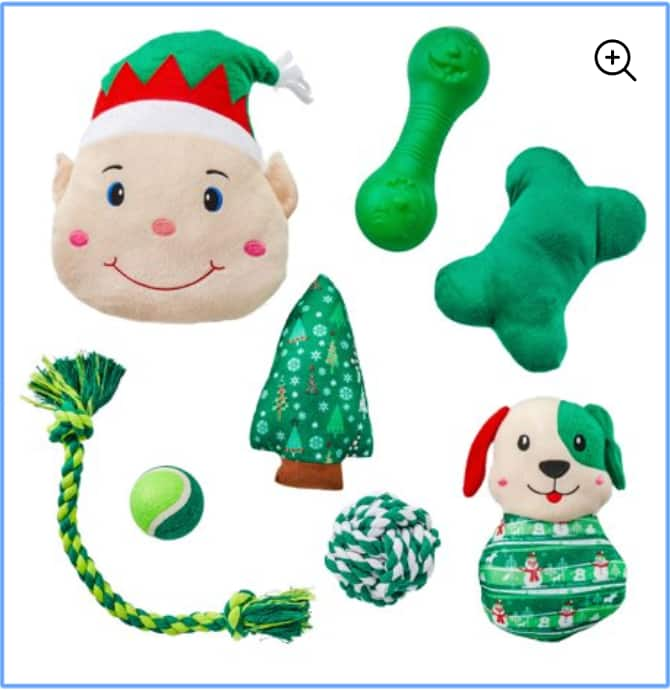 8-piece Holiday Time Dog Toy Stocking (2 colors) $4.49 + Free store pickup at Walmart