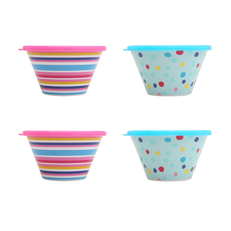 Mainstays Kids 4 Pack Bowls w/ Lid $4.48 & Melamine Plate Weather $5.84 + Free store pickup at Walmart