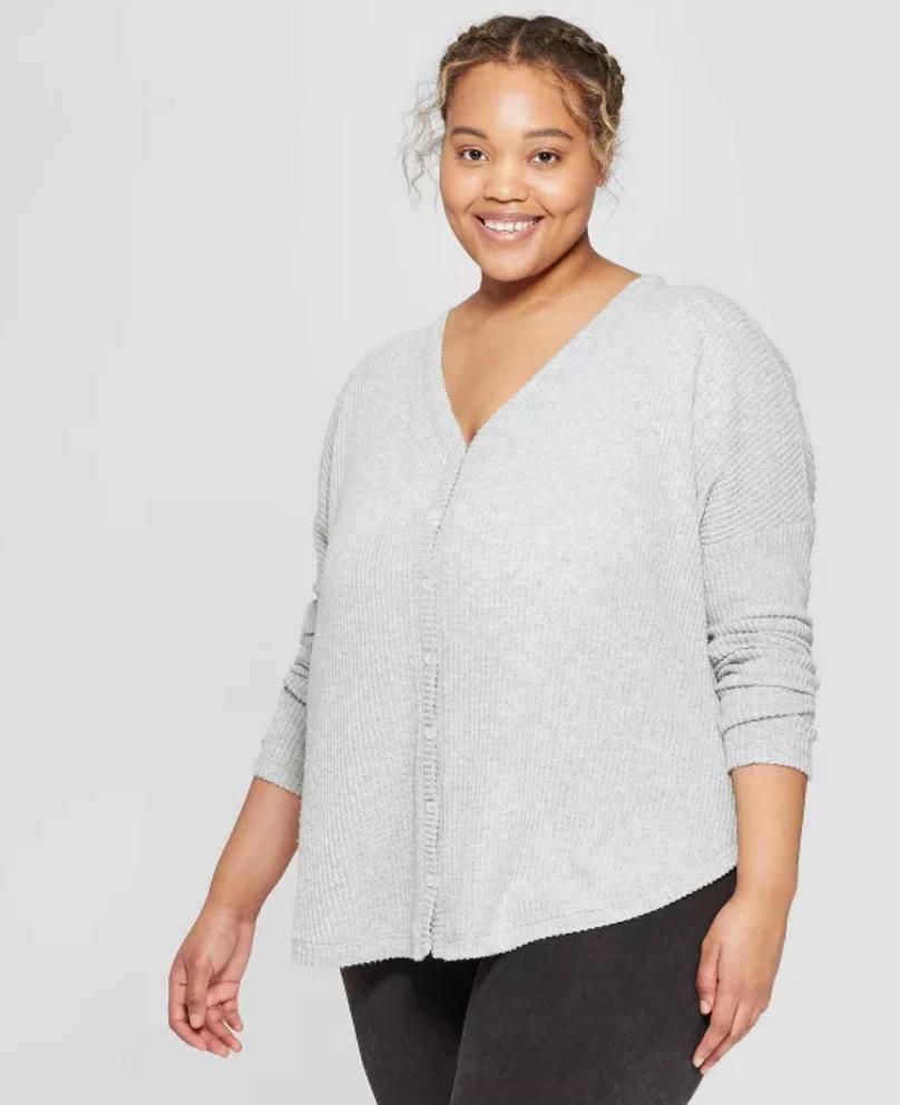 Colsie Women's Plus Size Long Sleeve Waffle Button-Up Lounge Sweatshirt $7.19 + Free store pickup at Target