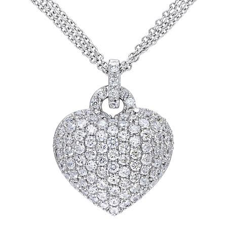 Sam's Club Members: 3.47 CT. Created White Sapphire Heart Pendant in Sterling Silver $65 + Free shipping