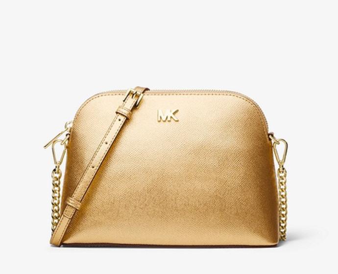 Michael Kors Large Metallic Crossgrain Leather Dome Crossbody Bag $76 + Free shipping