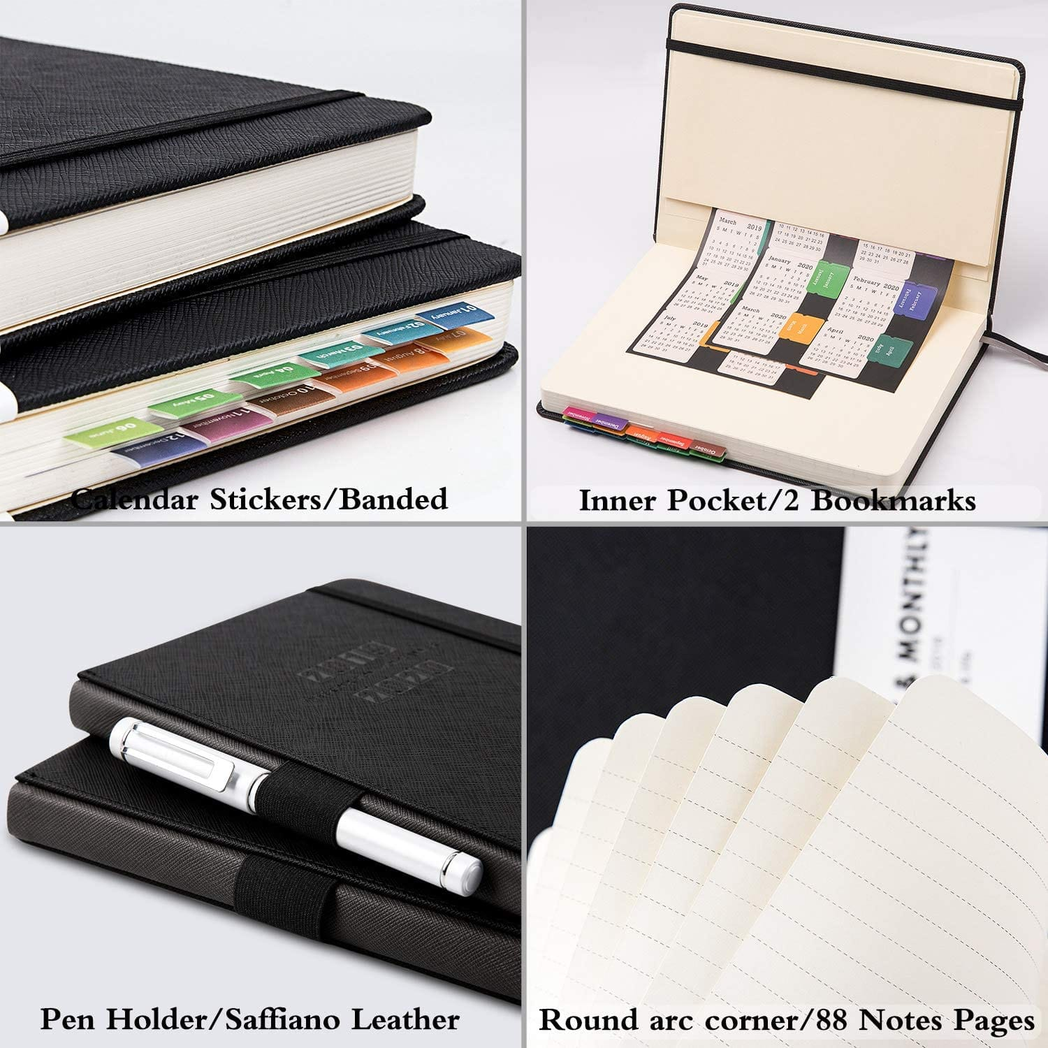 2020 Weekly/Monthly Planner Saffiano Leather (Black) $10 + Free shipping w/ Prime or $25+