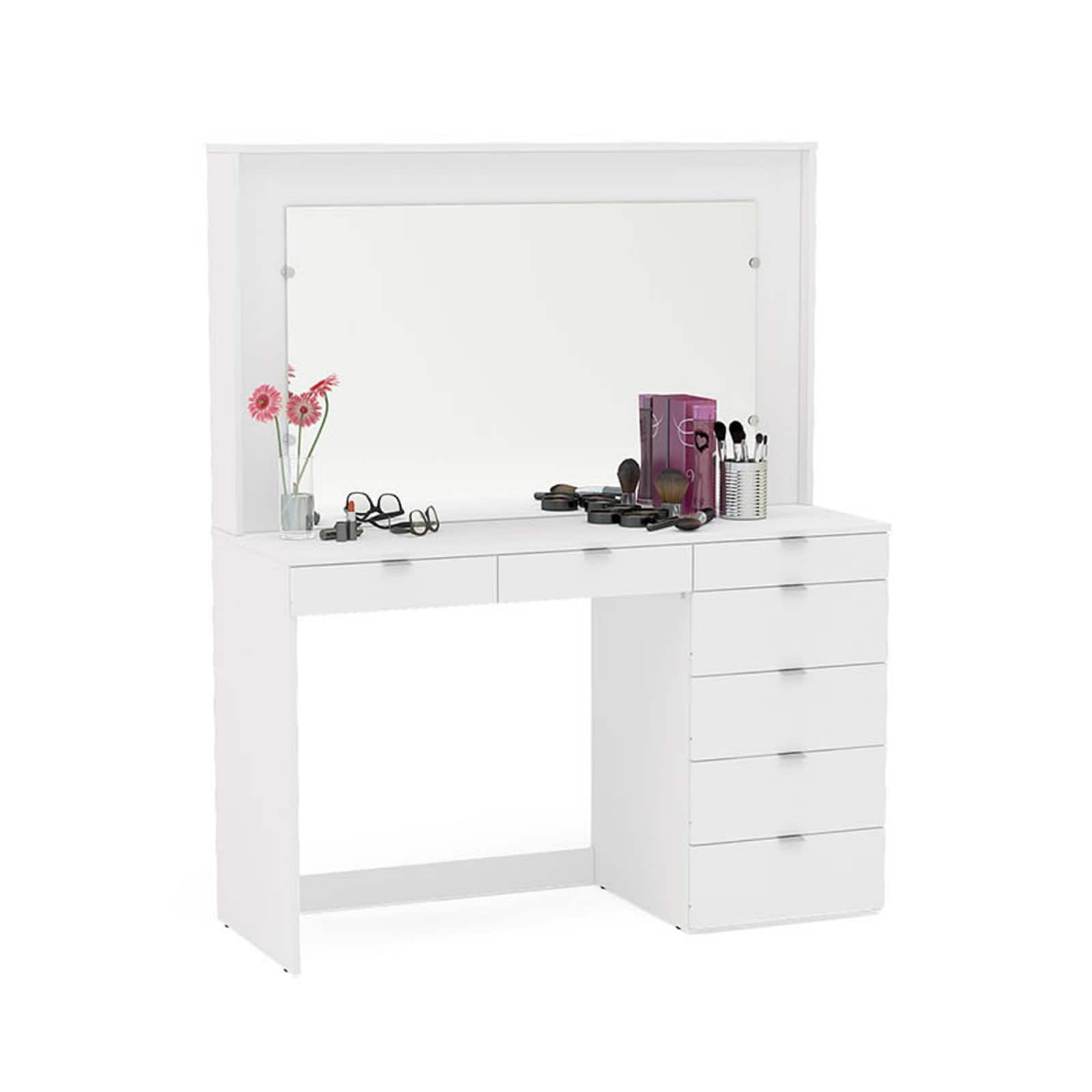 Boahaus Joan Modern Vanity Table with Mirror and 3 Drawers (white) $200 + Free shipping