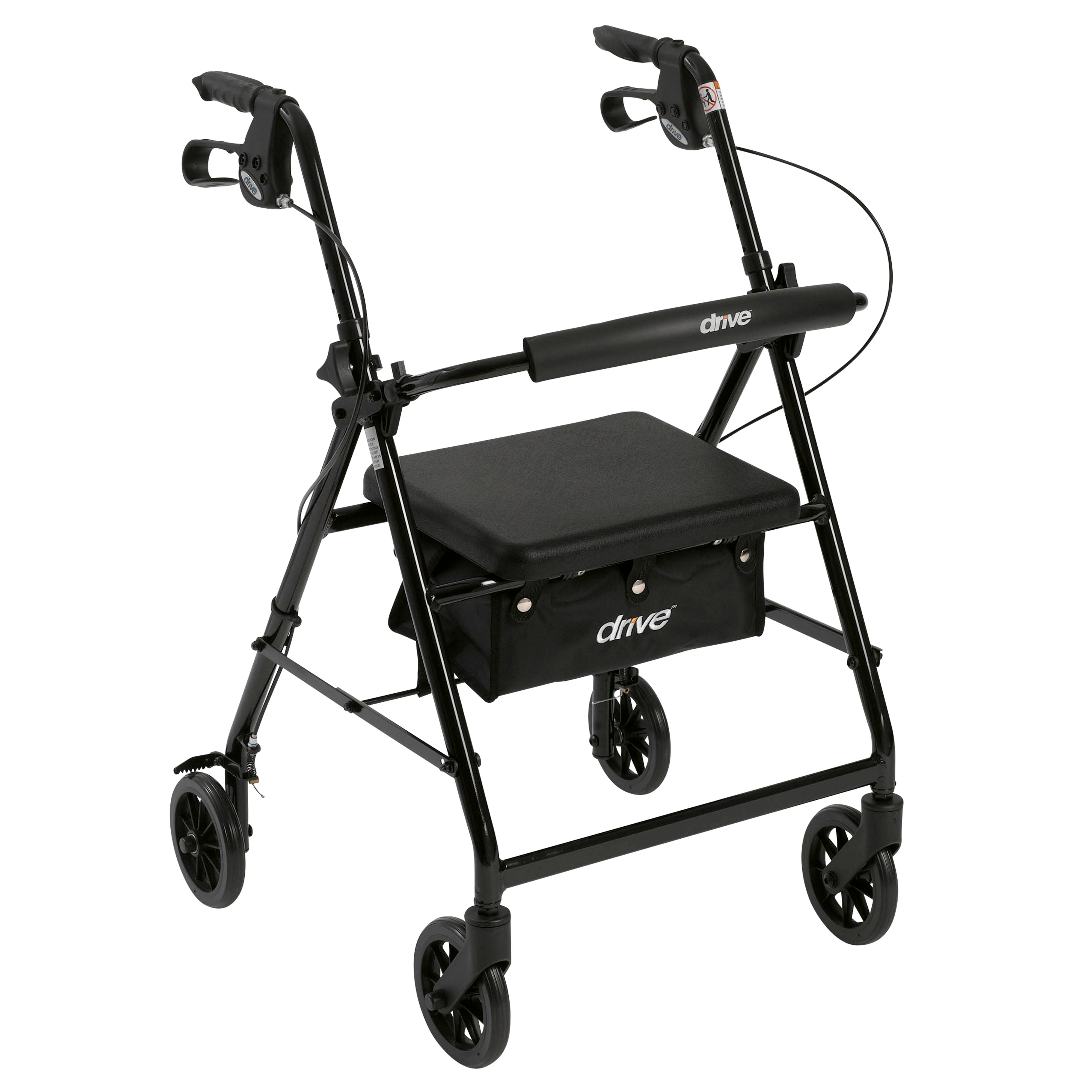 Drive Medical Rollator Rolling Fold-up Walker with Back Support & Padded Seat (black)  $43.65 + Free shipping