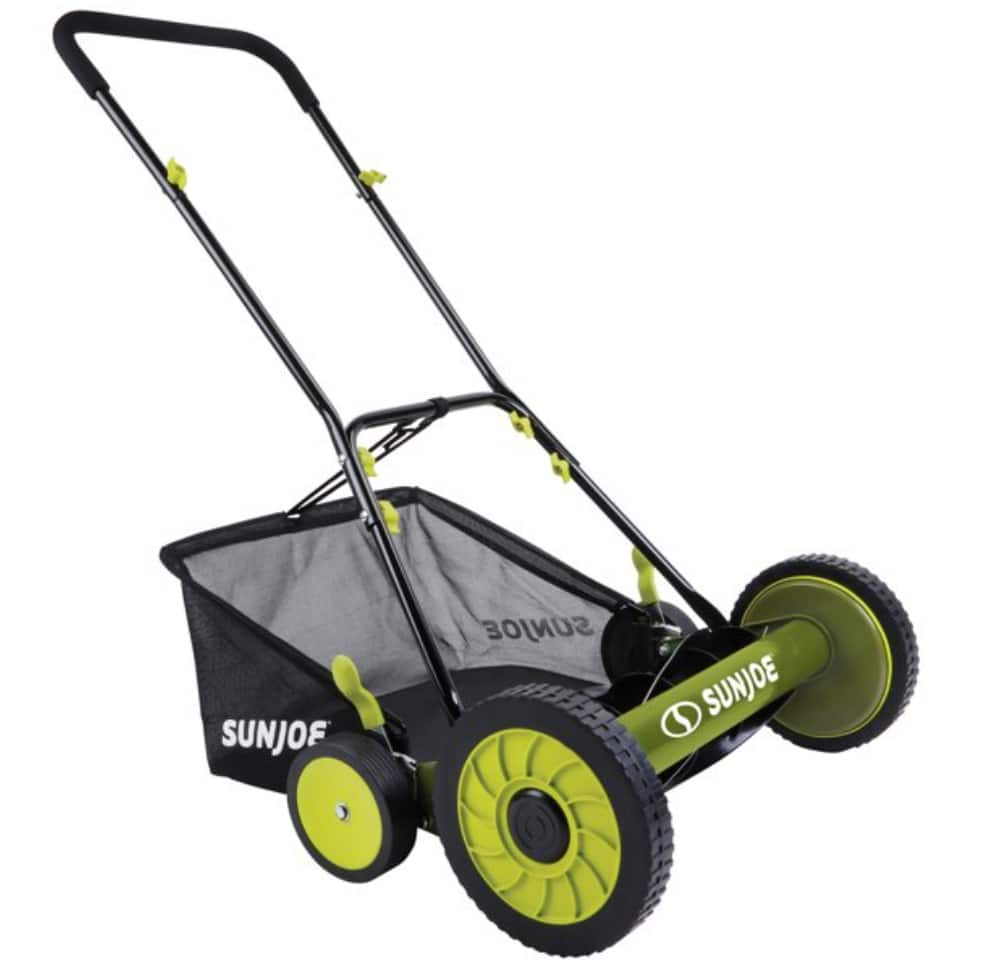 """18"""" Sun Joe Manual Reel Mower with Clippings Catcher $75 + Free shipping"""
