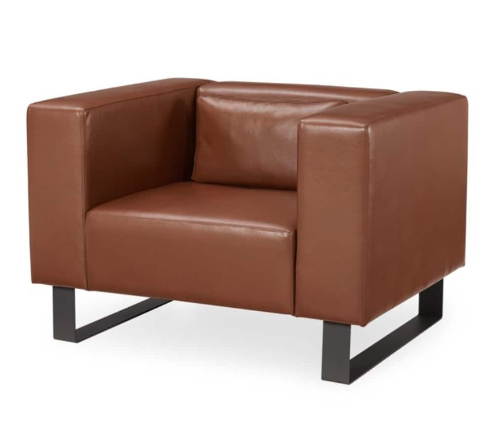 MoDRN Refined Industrial Atoll Metal Base Lounge Chair (Caramel Brown) $112 + Free shipping