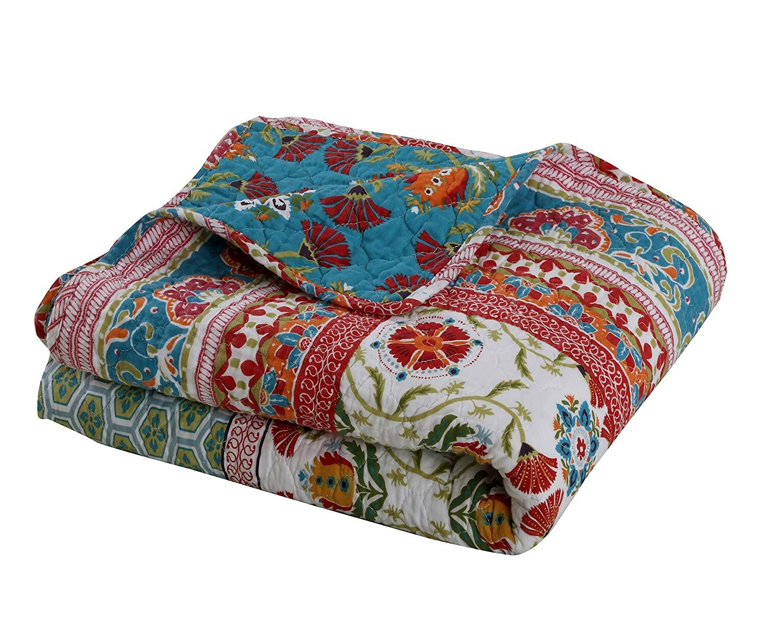 """60"""" x 50"""" Greenland Home Thalia Multi-colored Quilted Cotton Throw $39 + Free shipping"""