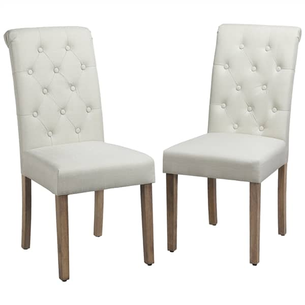 2-Piece Set SmileMart Comfort Upholstered Tufted Dining Chairs (Cream) $90 + Free shipping