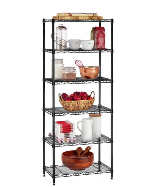 6-Shelf Wire Shelving Convertible Rack with Shelf Liners $45 + Free shipping