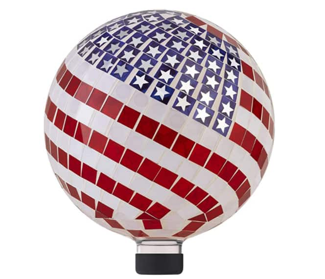 "12"" Alpine Corporation Indoor/Outdoor Mosaic American Flag Gazing Globe Yard Art Decor $36.66 + Free shipping"