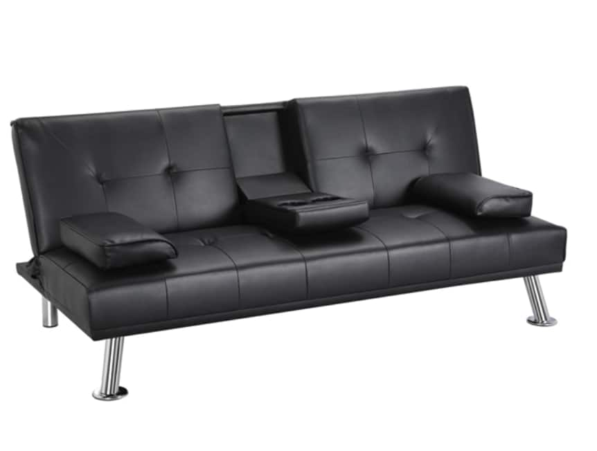 LuxuryGoods Modern Faux Leather Futon w/ Cup Holders (Various Colors) $139 + Free Shipping