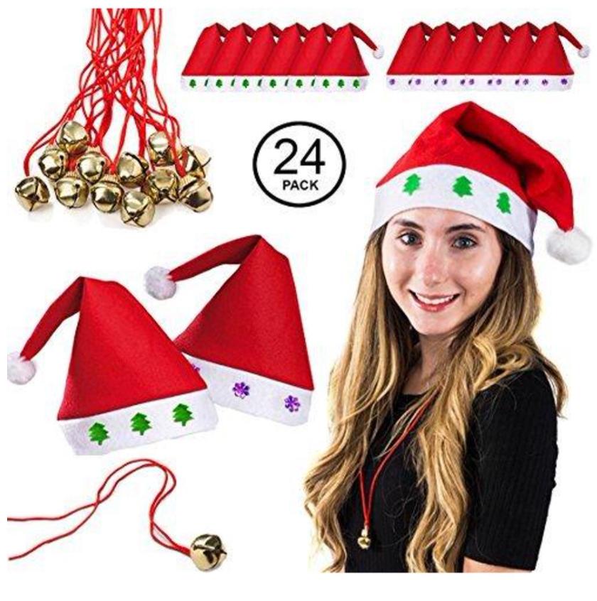 24-pc Christmas Bulk Set (12 Santa Hats + 12 bell necklaces) $12 + Free shipping on $35+