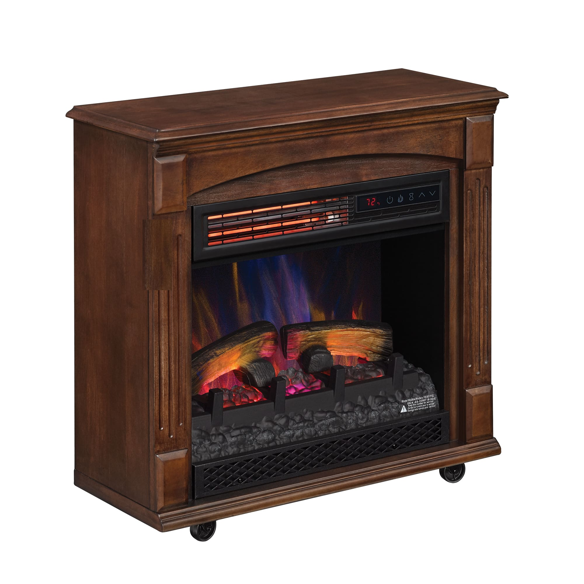 Rolling Mantel with Infrared Quartz Electric Fireplace (Caramel Birch) $99 + Free shipping